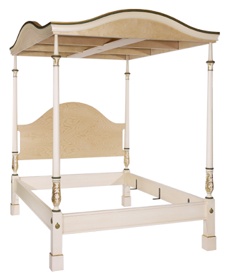 The Lady Chatterley Bed full frame with canopy from side at a 45 degree angle