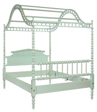 The Gazebo Spool Bed from 45 degree angle to Footboard