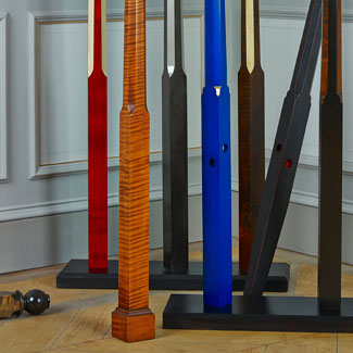 The Metro Pencil Bed Posts showing various feet style and finish